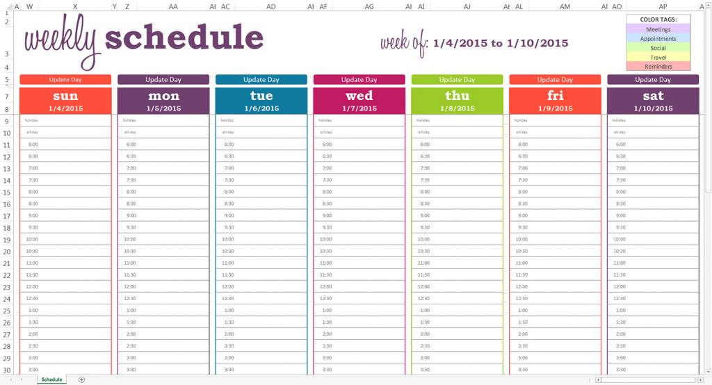 October 2020 Weekly Calendar Editable Half Hourly Print 8 Week Calendar