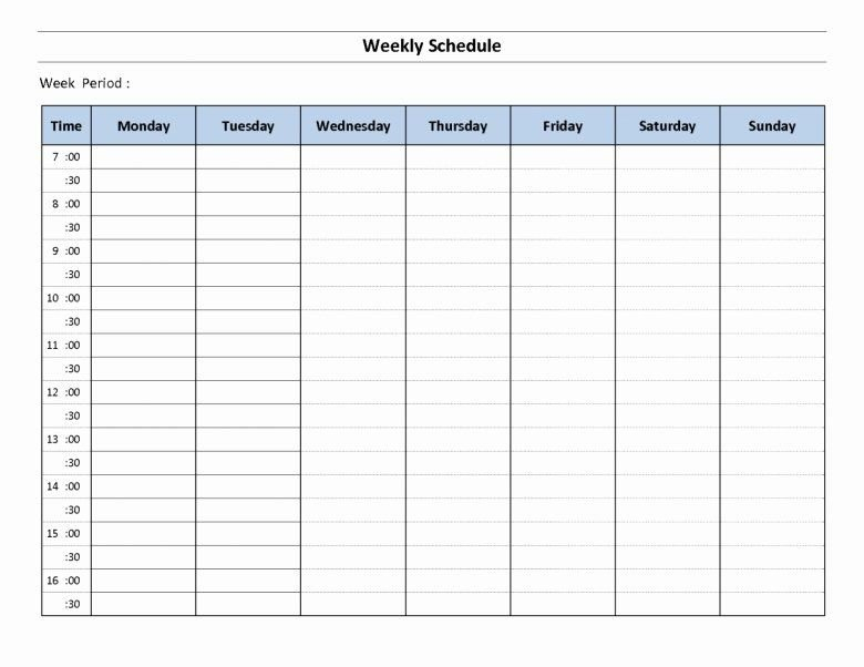 One Week Schedule Template Fresh Fillable Daily Planning One Week Calendar Form