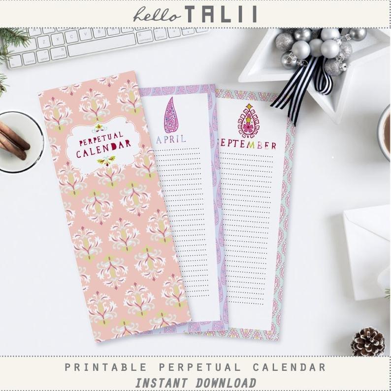 Perpetual Calendar Printable Perpetual Birthday Calendar Perpetual Birthday And Anniversary Calendar Printable