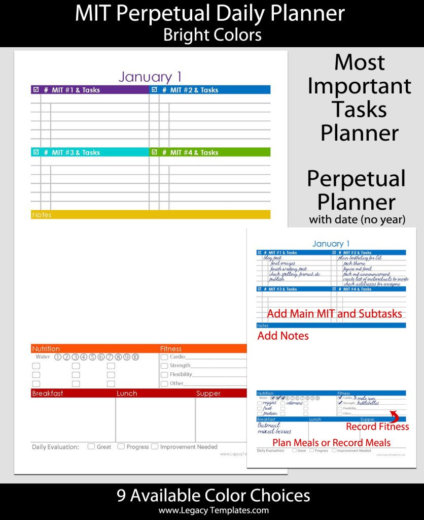 Perpetual Daily Mit Daily Planner With Date - 5.5″ X 8.5 5.5 X 8.5 Planner Templates