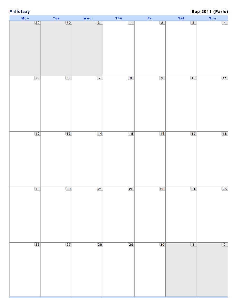 Philofaxy: Monthly View Calendars 8X5 Monthly Calendar Print Outs