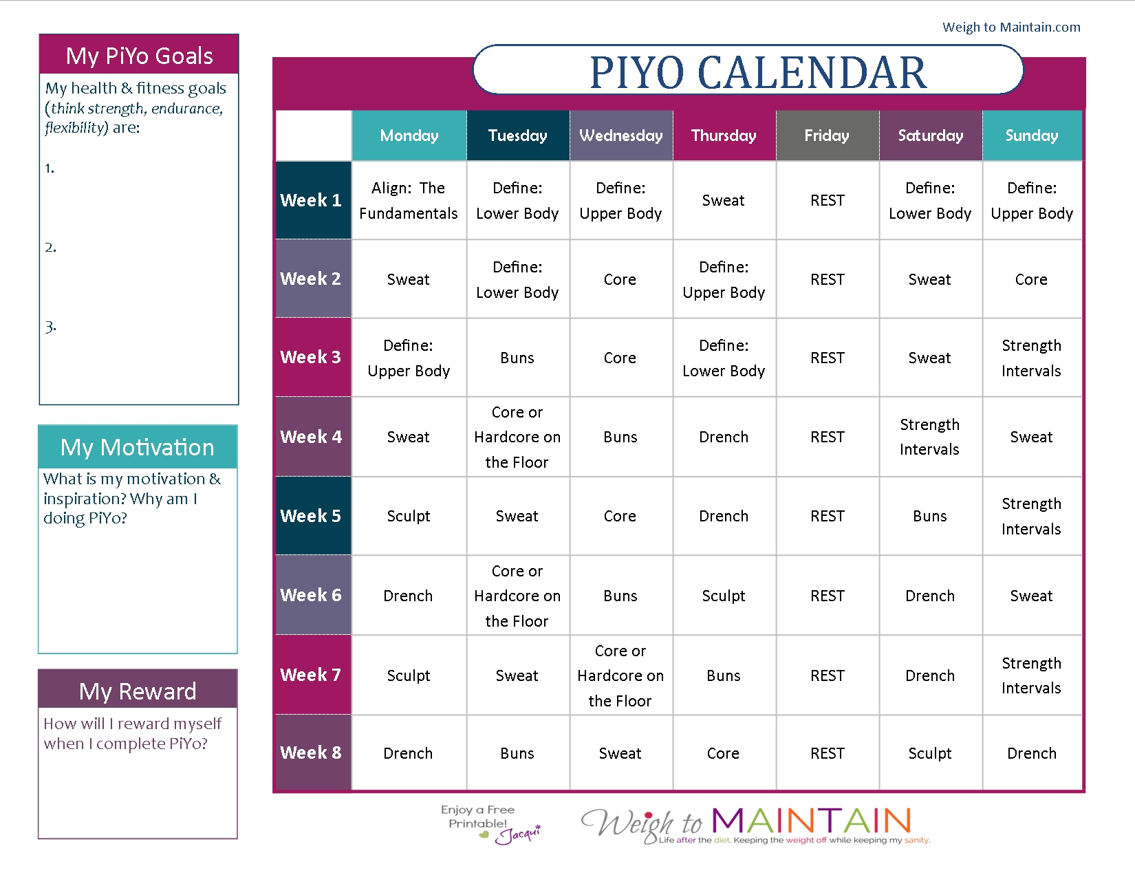 Piyo 8 Week Calendar   Ten Free Printable Calendar 2020-2021 8 Week Calendar Printable