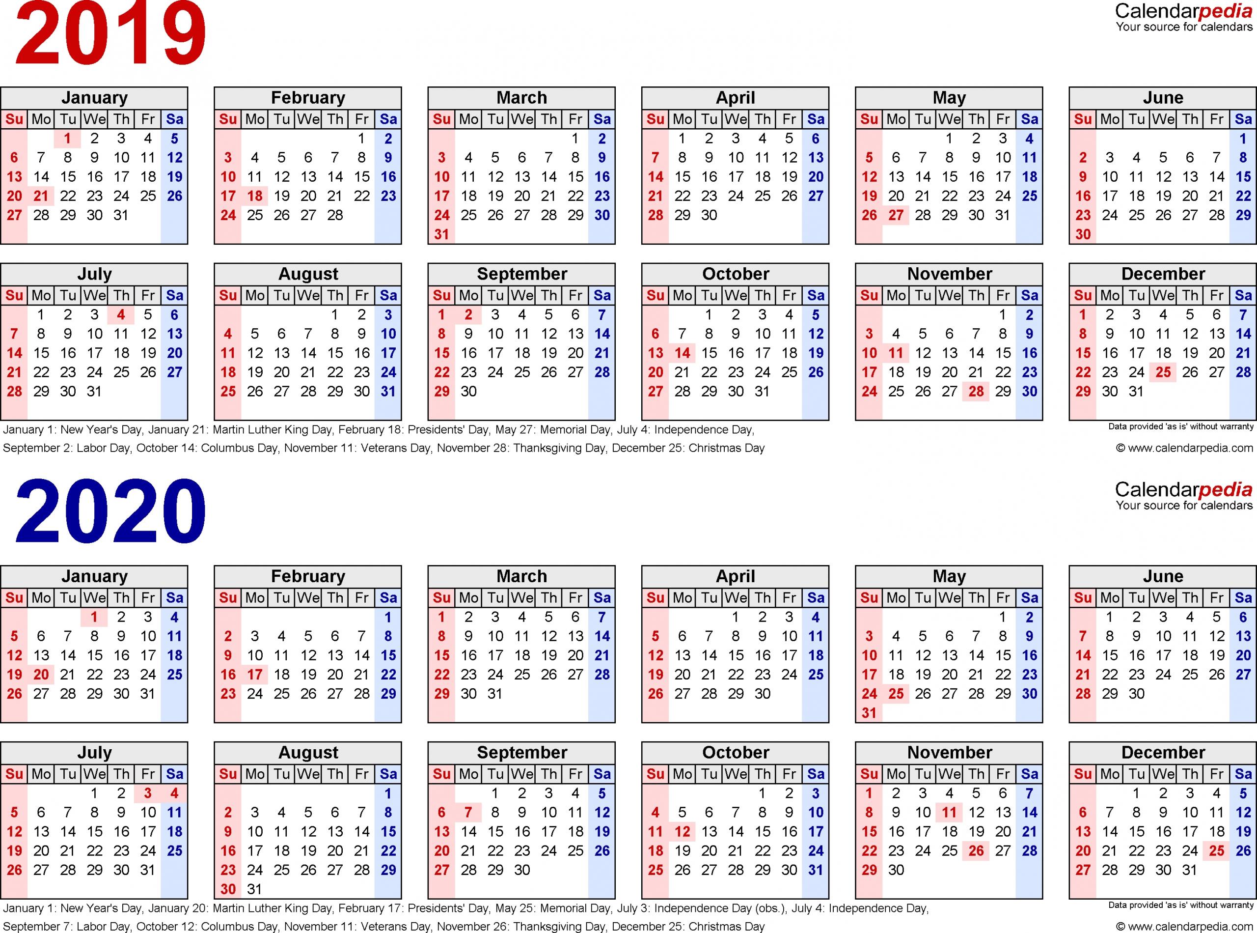 Pocket Printable 2019-2020 Calendar Free - Calendar Multiple Year Printable Calendar