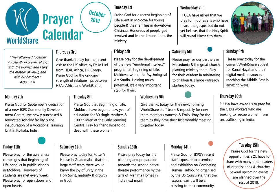 Pray - Worldshare Daily Scripure Prayer Calendar