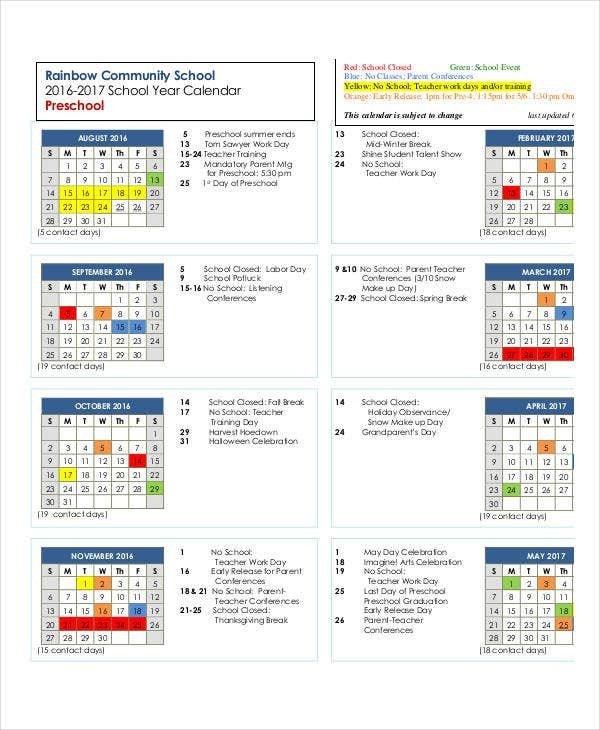 Preschool Calendar Template - 10+ Free Pdf, Word Format Free Editable Preschool Calendar Template