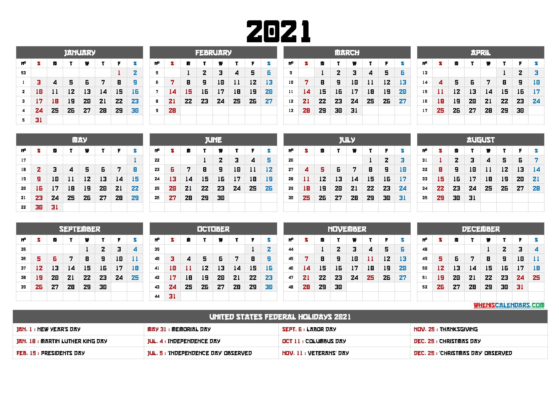 Printable 12 Month Calendar On One Page 2021 - 12 Templates Updateable 12 Month Calendar - Free