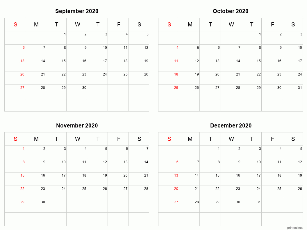 Printable 2020 Calendar - Four Months Per Page | Free Free 2020 Checkbook Size Calendar Same Size As A Check For The Year