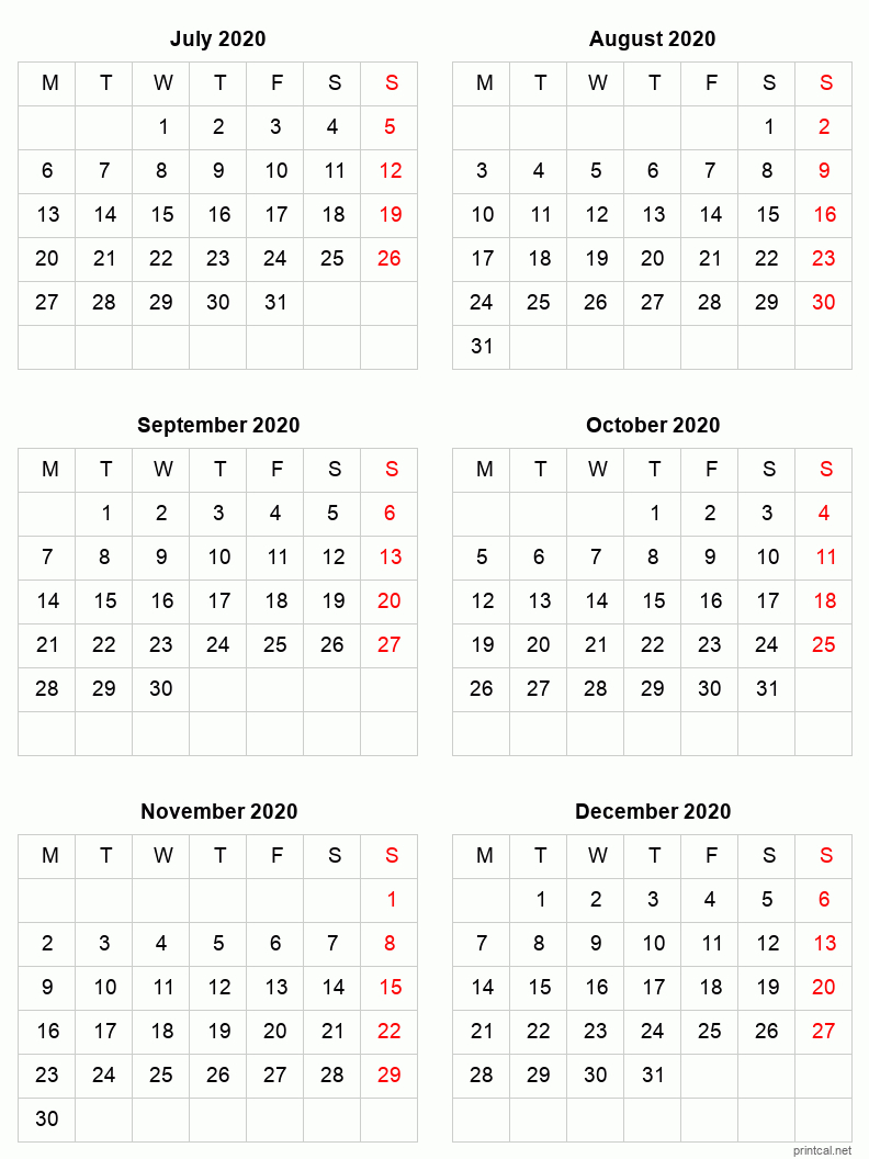 Printable 2020 Calendar - Six Months Per Page | Free Free 2020 Checkbook Size Calendar Same Size As A Check For The Year