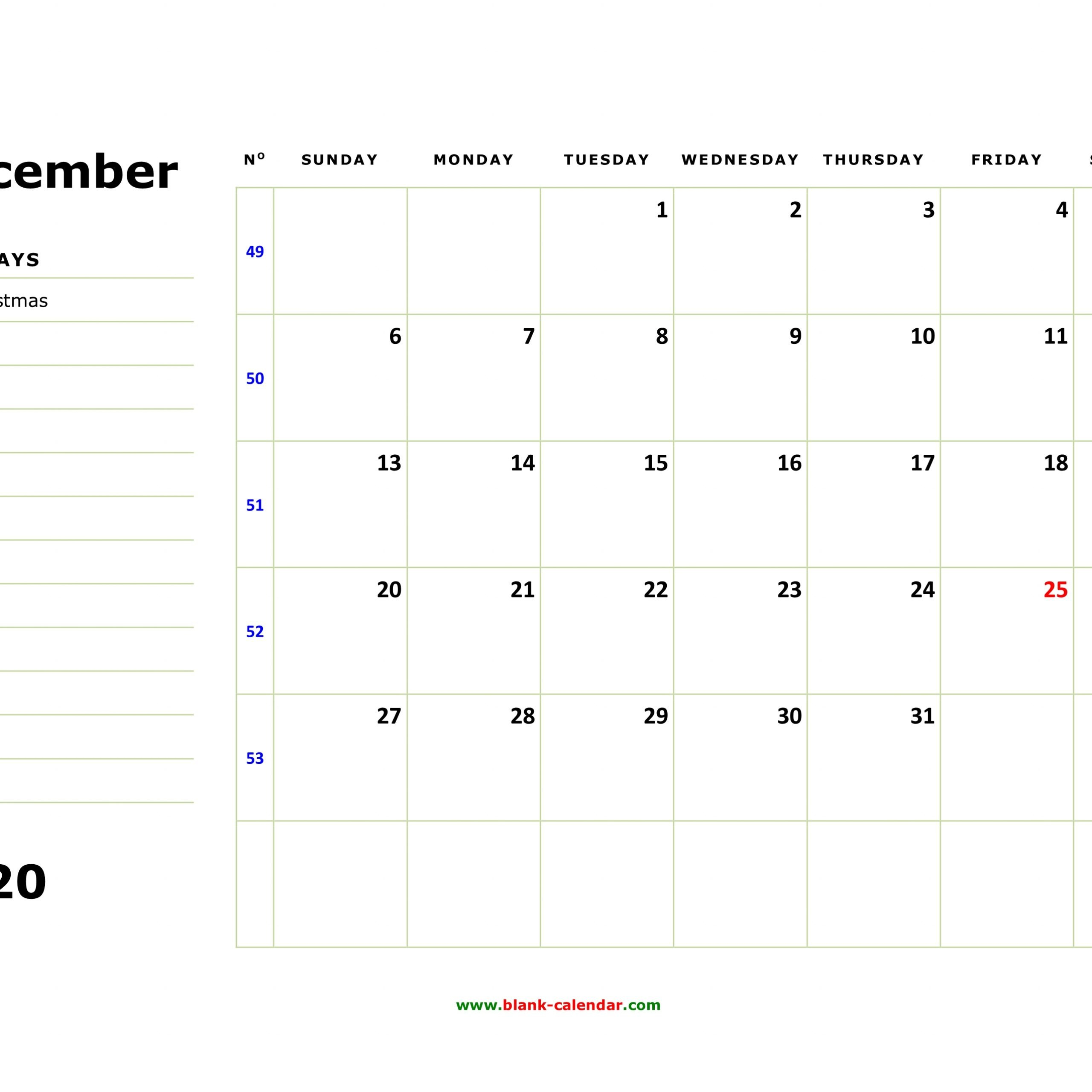 Printable 2020 Calendar With Holidays And Notes   Free Free Printable Calendars With Notes
