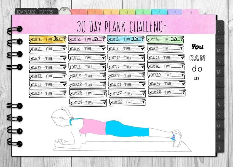 Printable 30 Day Plank Challenge Tracker | Etsy Printable 30 Day Plank Challenge