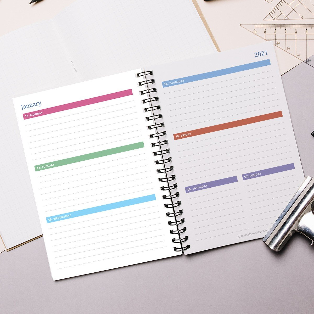 Printable A5 Weekly Planner 2021 | Horizontal Layout 8X5.5 Planner Inserts Free Printable