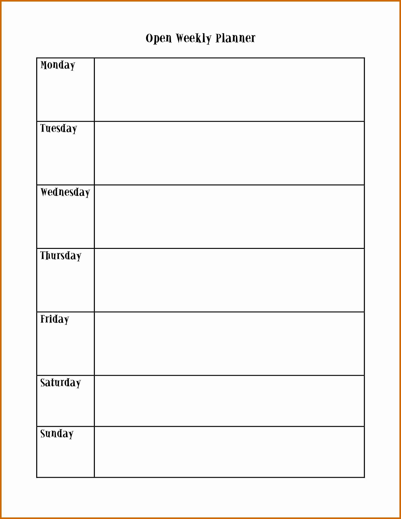 Printable Appointment Calendars Monday Through Friday Mon - Fri Calender Layout Download