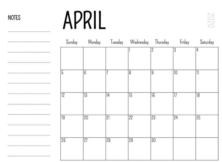 Printable April 2020 Calendar - Waterproof Paper No Frills Printable Calendar