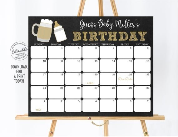 Printable Baby Guess Date Chart Image | Calendar Template 2020 Babies Due Date Guess Large Print Out