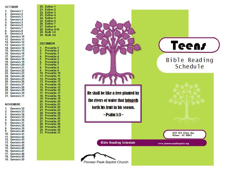 Printable Bible Reading Schedules - Pioneer Peak Baptist Calendares To Print That Have The Week M Thru Sunday