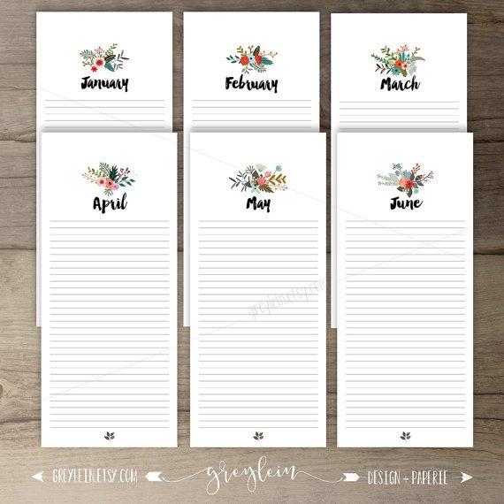 Printable Birthday Calendar • Perpetual Calendar • Floral Perpetual Birthday And Anniversary Calendar Printable