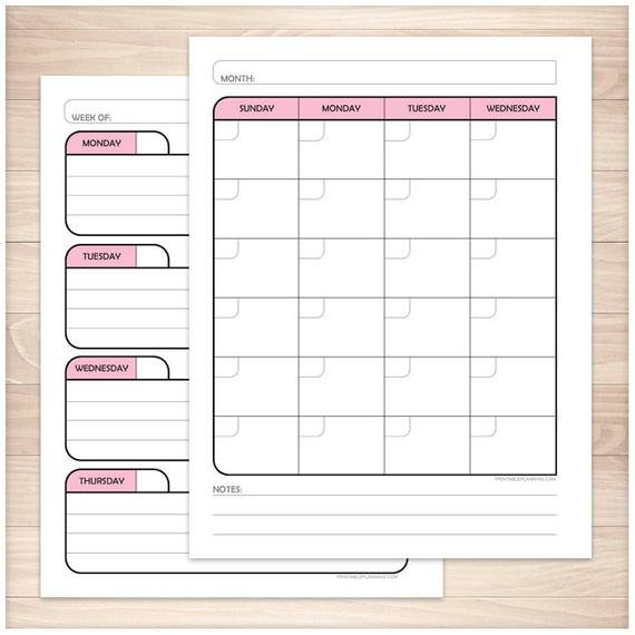 Printable Blank Calendar Planner Pink Monthly Weekly Where R My Blank Calendars