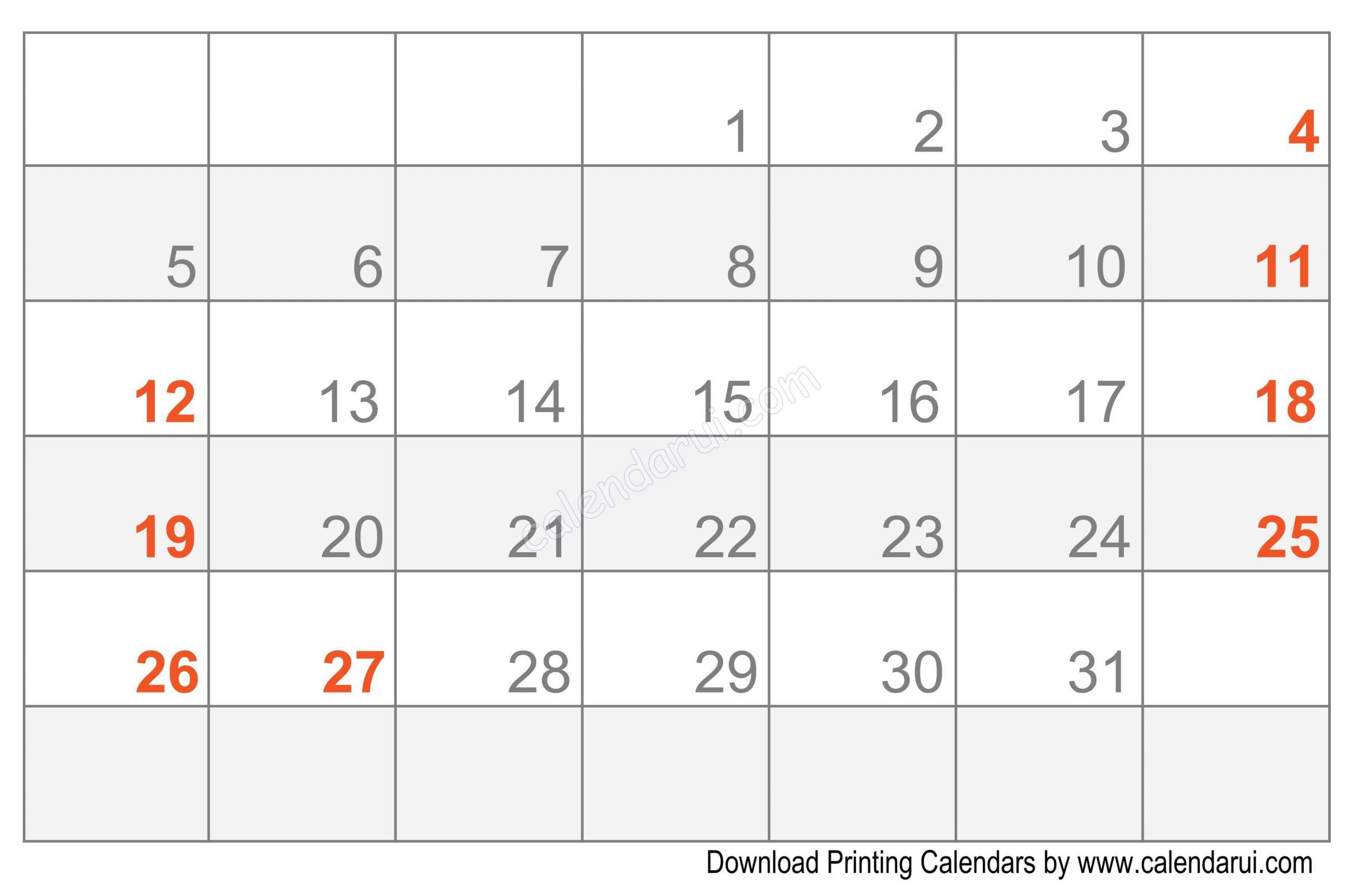Printable Blank Calendar Template Free | Calendar Template Online Calendar Fill In