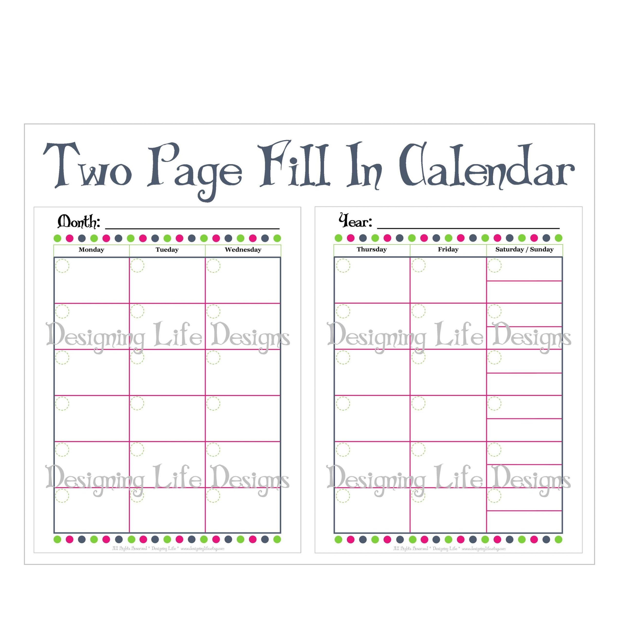Printable Blank Monthly Calendar 2 Pages | Example Blank Monthly Calendar Page Without The Year
