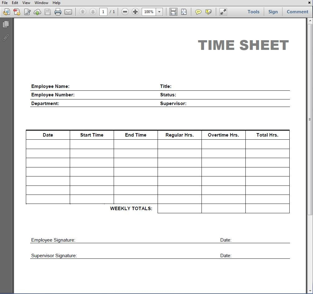 Printable Blank Pdf Time Card Free Template For Employee Time Off Calendar