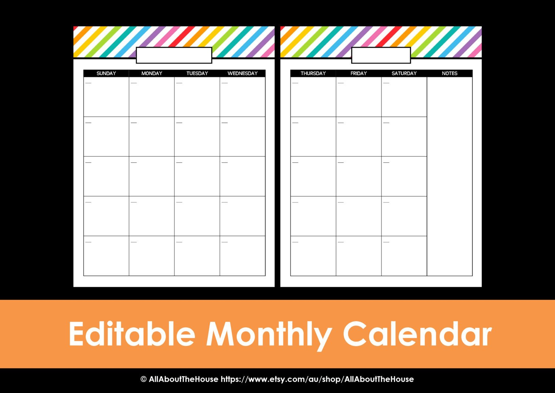 Printable Calendar 2 Page Monthly Calendar Printable 2 Week Calendar Editable
