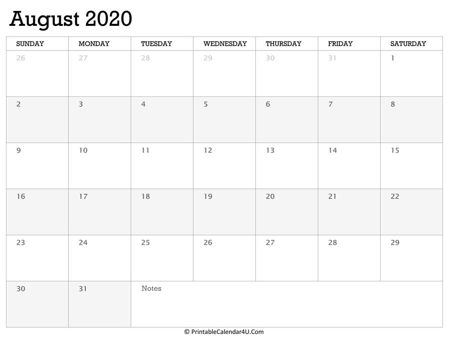 Printable Calendar August 2020 With Holidays Free Printable 8 1/2 X 11 Calendar