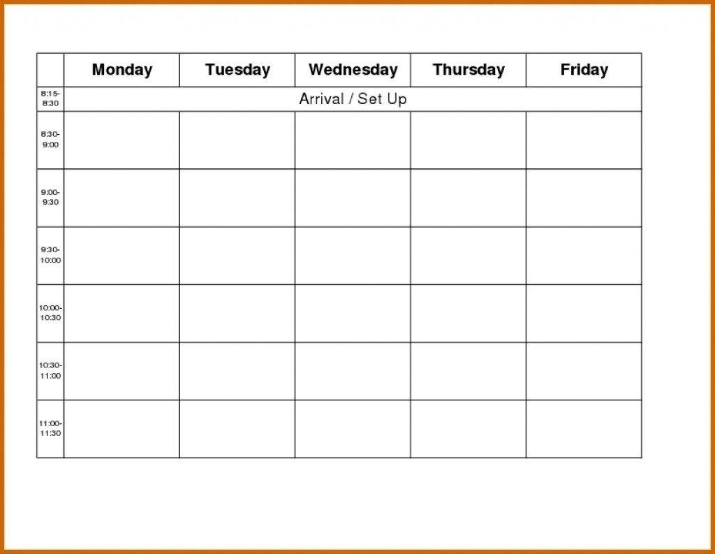Printable Calendar Monday- Friday :-Free Calendar Template Printable Schedule Mon To Friday