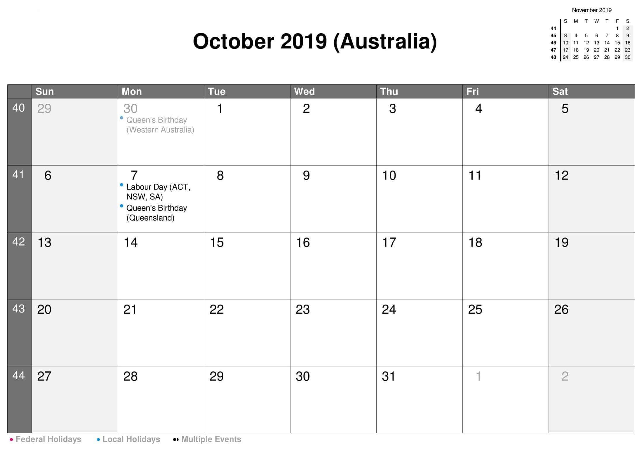 Printable Calendar October 2019 Australia | Calendar, Free Fillable Birthday Calendar Template Excel