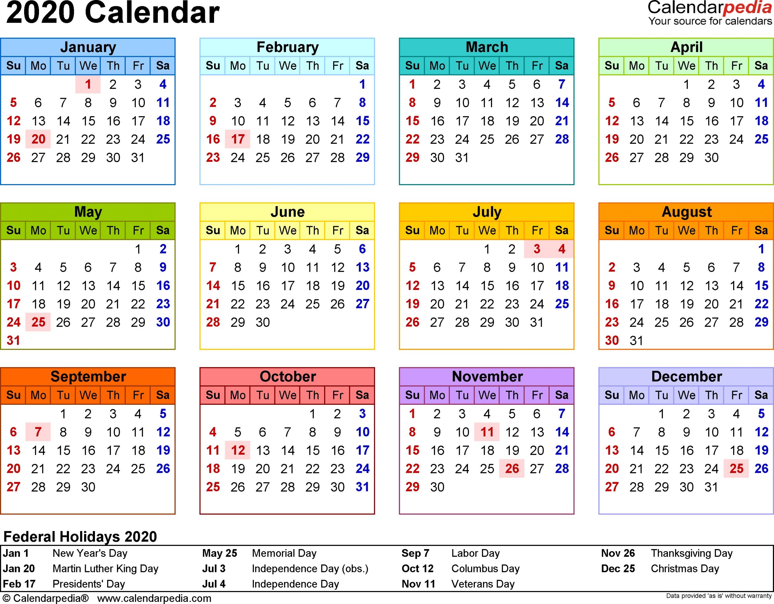 Printable Calendar One Week Per Page 2020 - Calendar Calendar Week On On Page