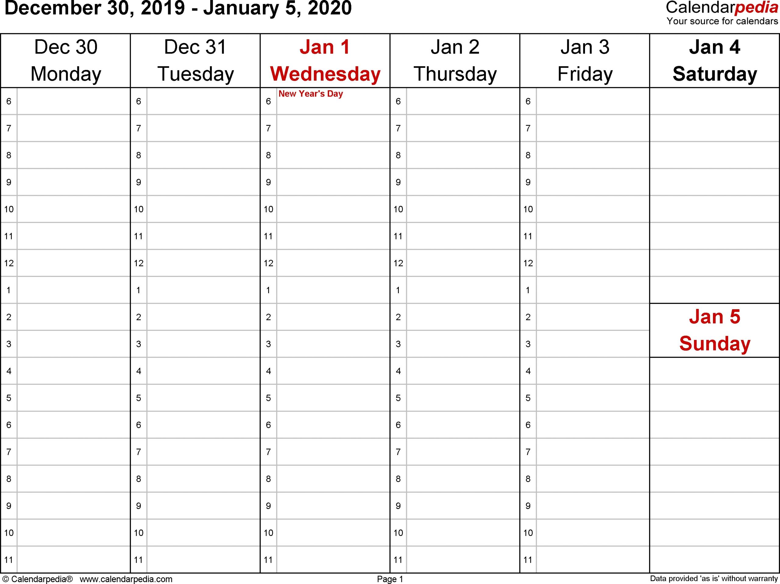 Printable Calendar One Week Per Page 2020 - Calendar One Week Calendar Form