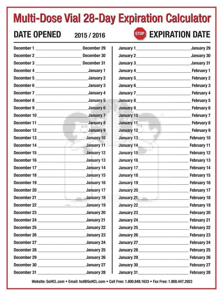 Printable Calendar Template Multi Dose Vial 28 Day 28 Day Expiration Calender