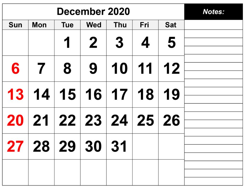 Printable December 2020 Calendar Template - Download Now Free Printable Calendar With Notes