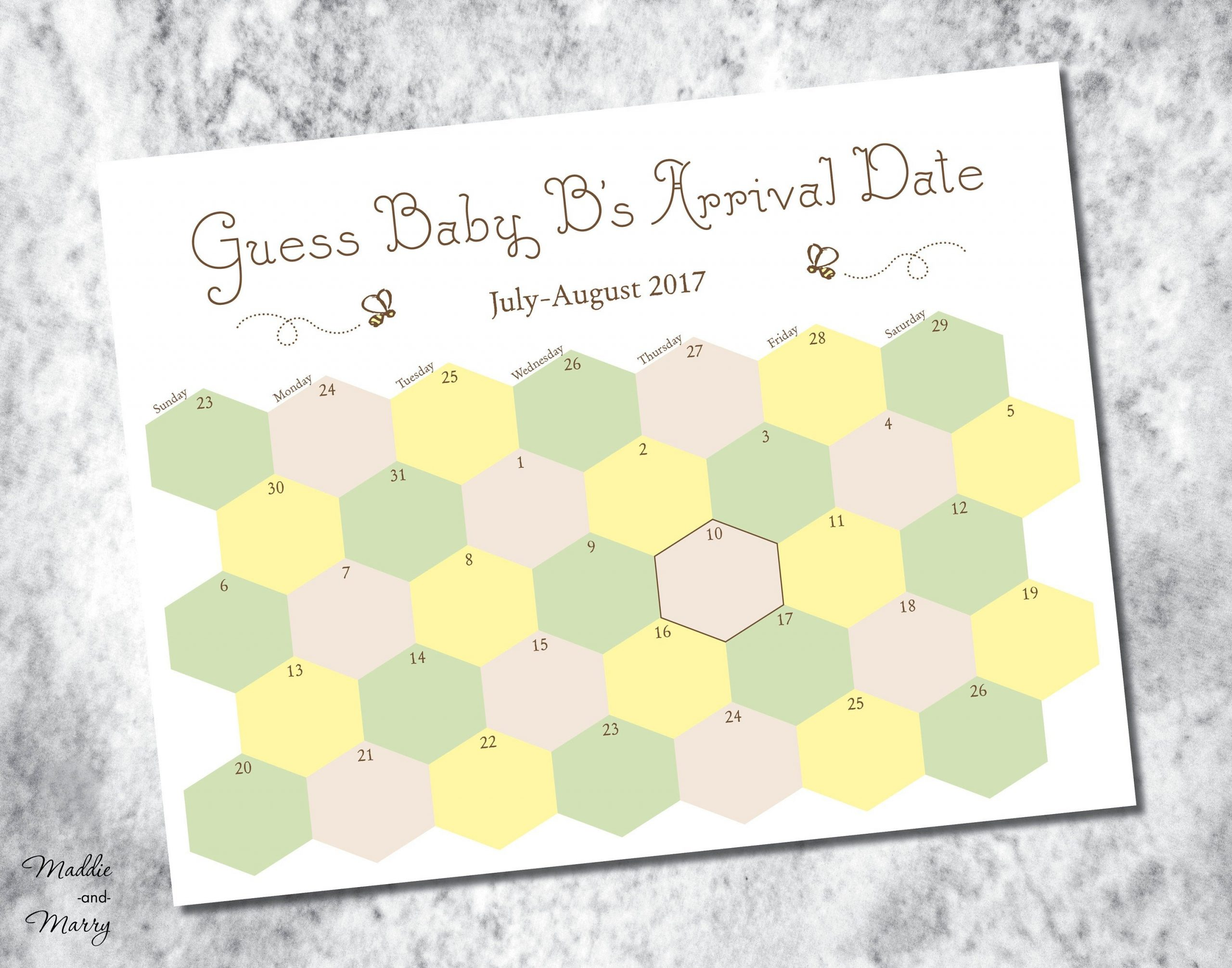 Printable Due Date Guess Baby'S Arrival Calendar | Etsy Guess The Baby'S Arrival Date