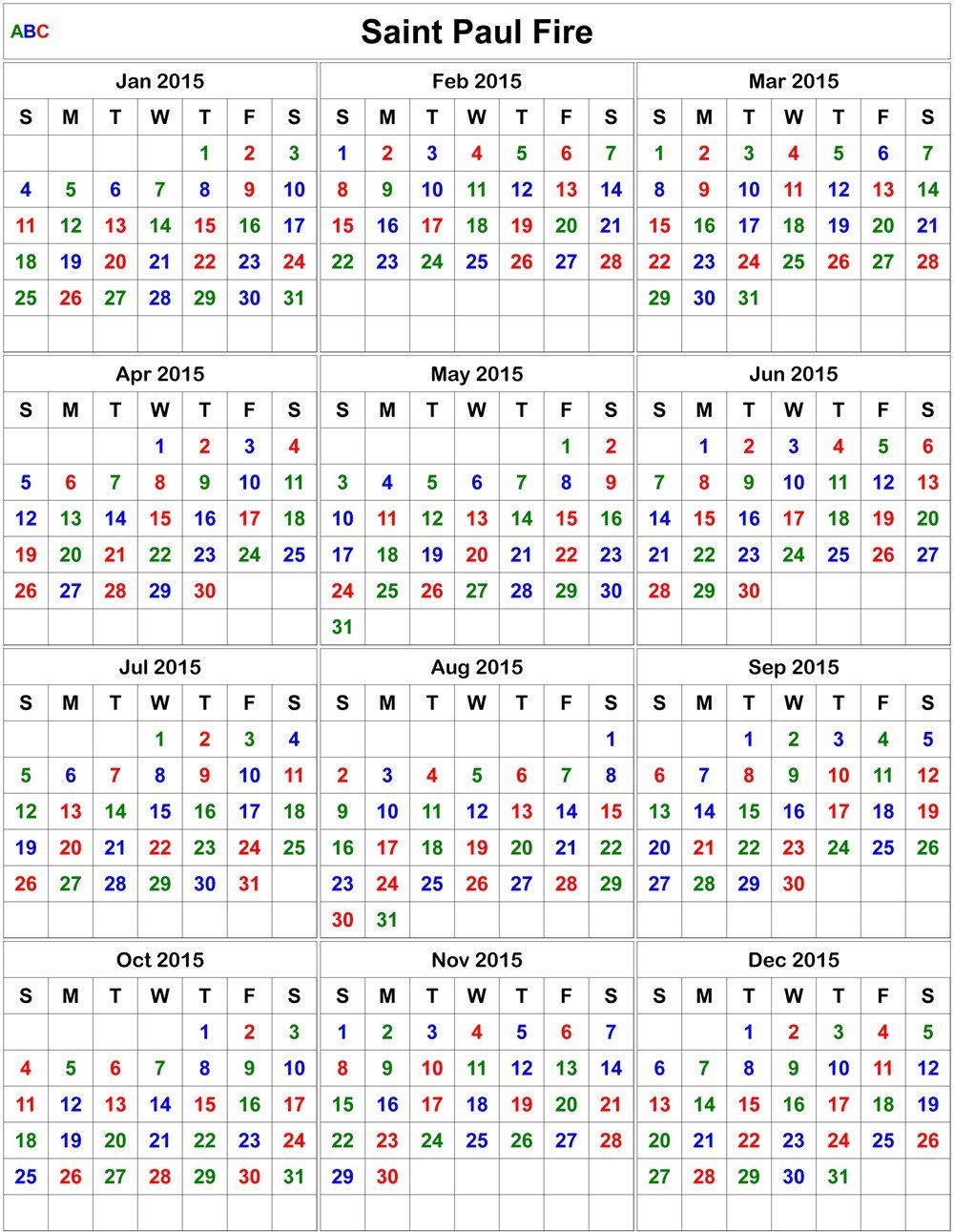 Printable Firefighter Calendar 2020 | Example Calendar Free Printable Shift Calendars