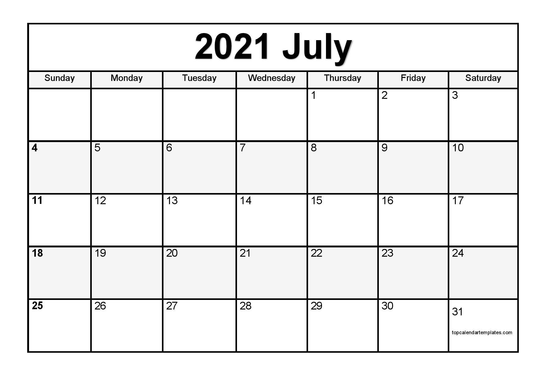 Printable July 2021 Calendar Template - Pdf, Word, Excel Free Bold Printable Calnder Jully