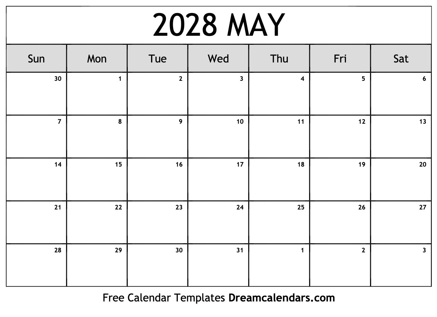 Printable May 2028 Calendar Make Of Copy Of Blank Monthly Calendar 8 1/2 By 11
