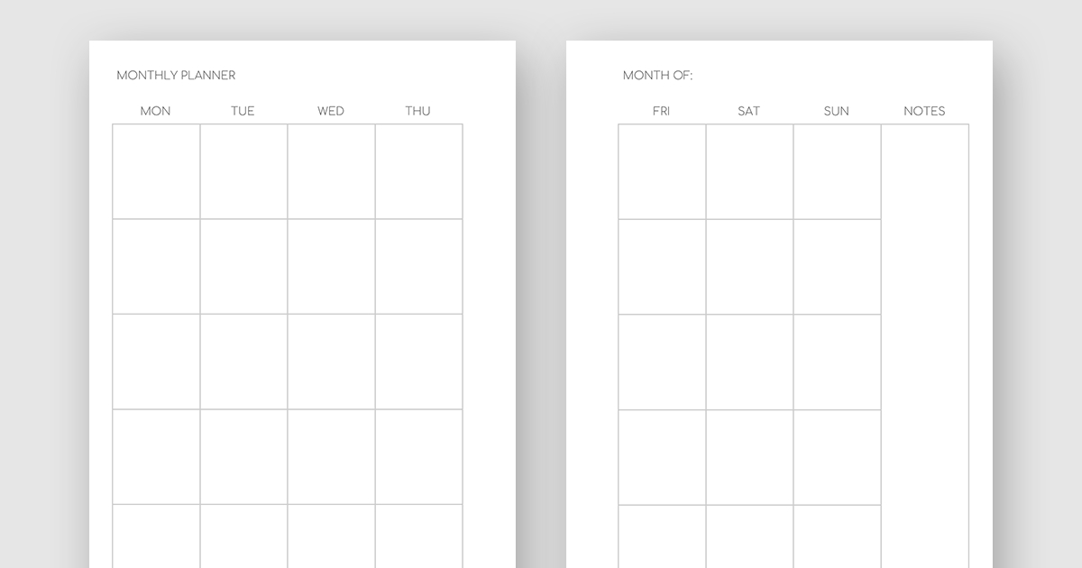Printable Minimalist Monthly Planner - Month On Two Pages No Frills Printable Calendar