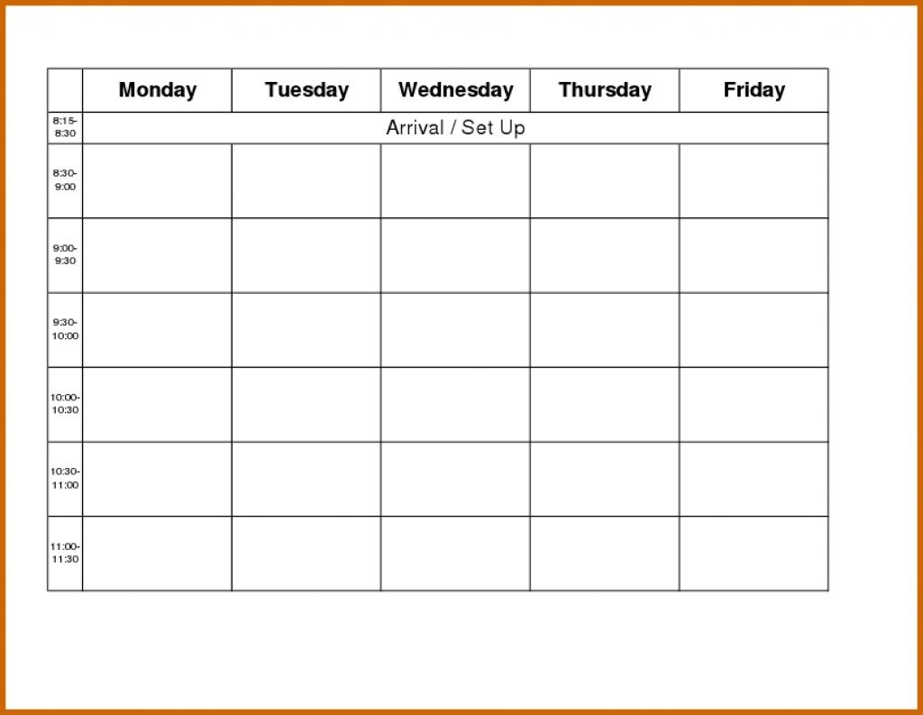 Printable Monday Through Friday Calendar :-Free Calendar Monday Thru Friday Calender