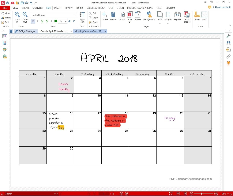 Printable Monthly Calendar That I Can Edit   Calendar April Callendar I Can Edit