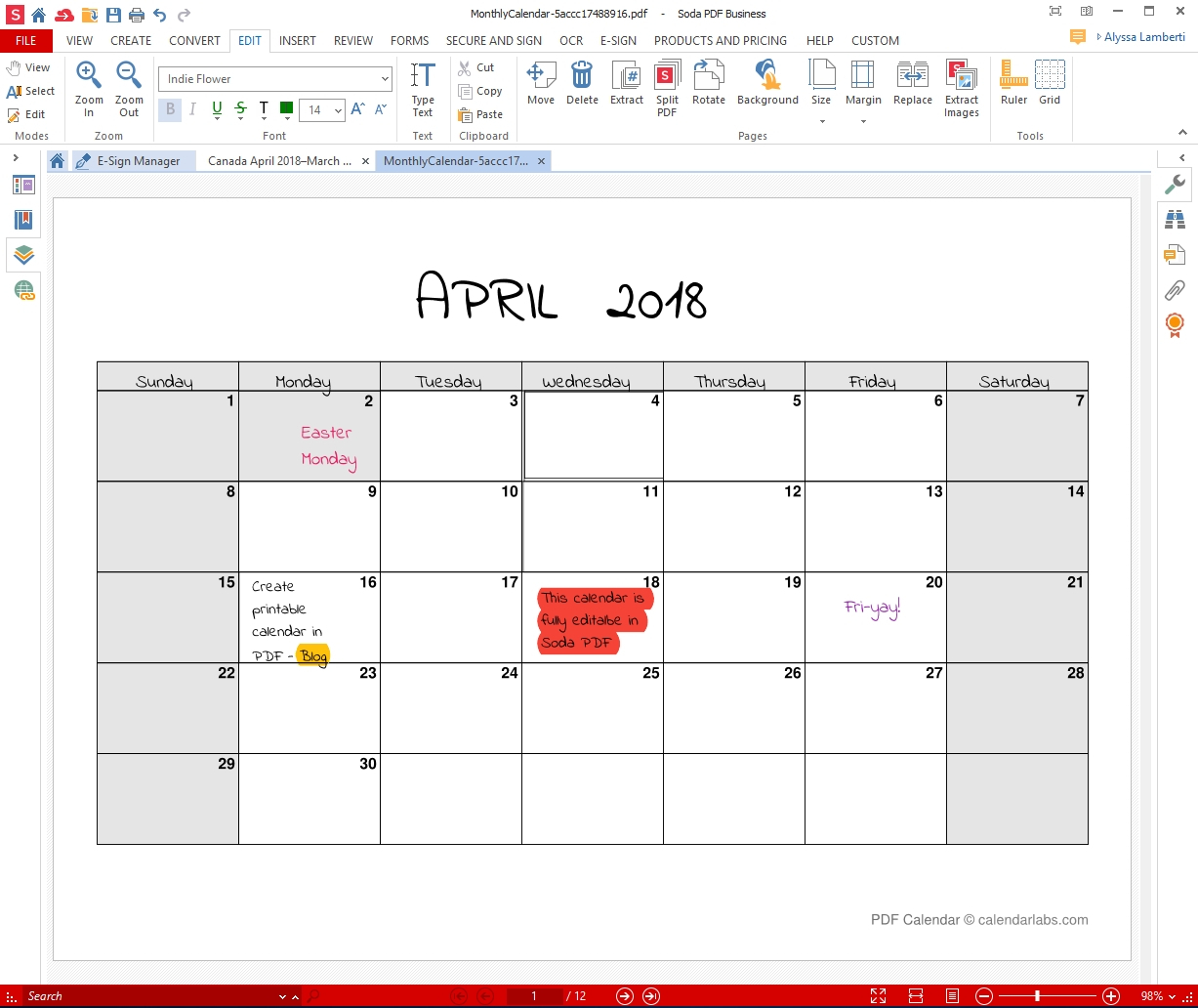 Printable Monthly Calendar That I Can Edit | Example Free Calendars That I Can Edit And Print