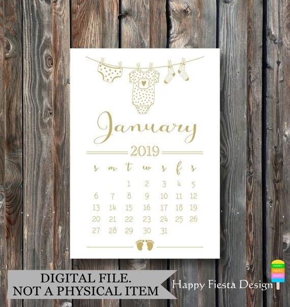 Printable Pregnancy Announcement Calendar-January 2019 How To Make Baby Due Date Calendar April 2020