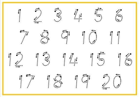 Printable Tracing Numbers 1-20, Digital Download, Number Large Printable Numbers 1 31
