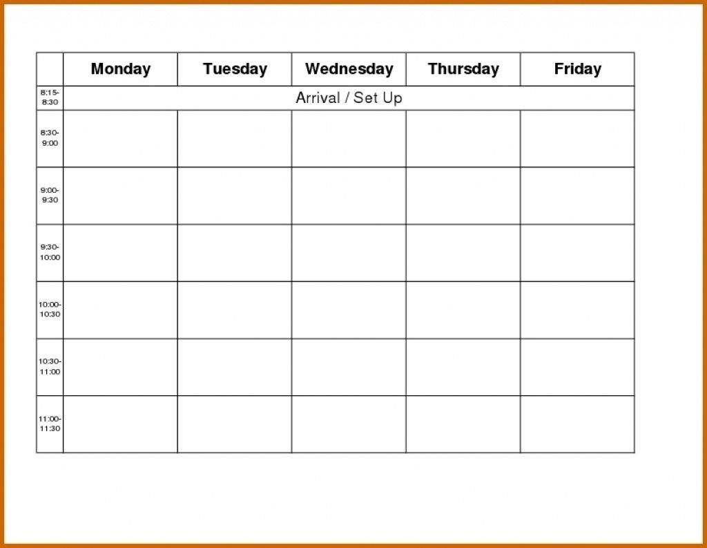 Printable Weekly Calendar Monday Thru Friday | Example Free Monthly Monday Through Friday Calenar