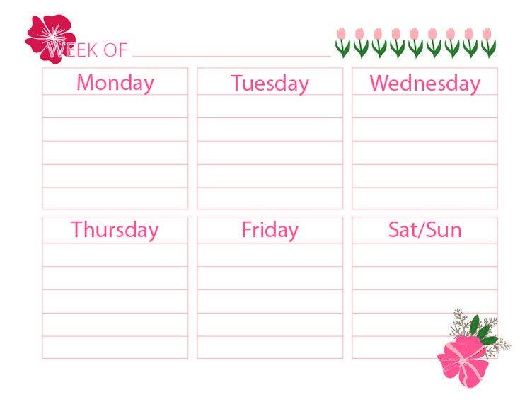 Printable Weekly Calendar - | Weekly Planner Printable 4 Week Printable Calendar