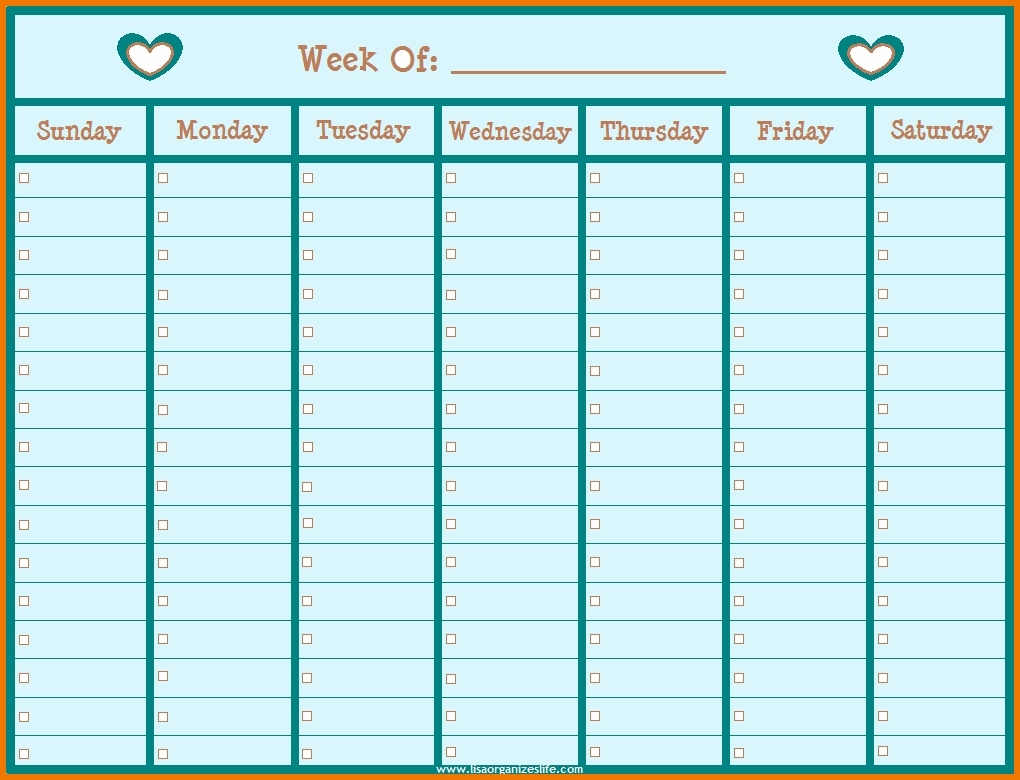 Printable Weekly Schedule With Hours Monday To Friday Downloadable Monday To Friday Calendar