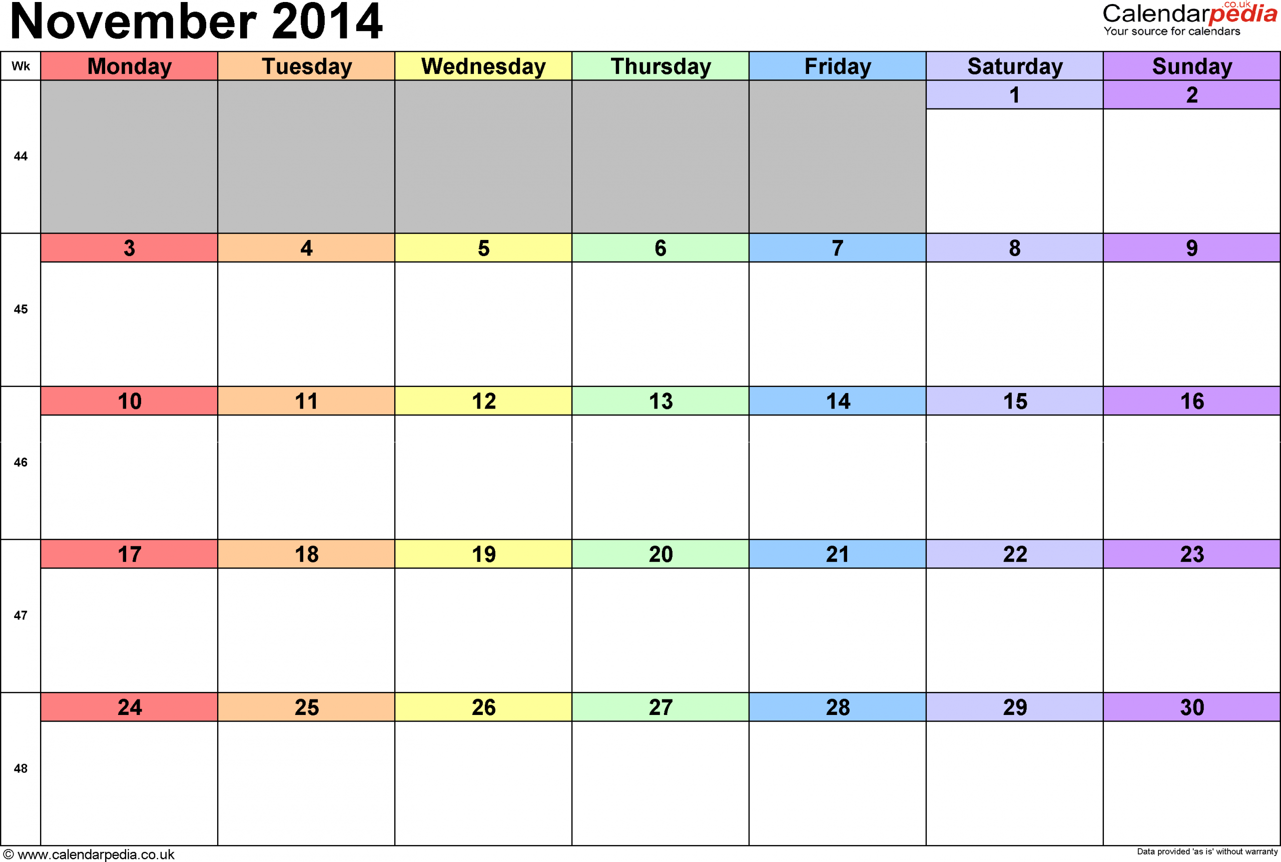 Rainbow Color Coded Monthly Calendar (Image From Google Color Coded Schedule Template