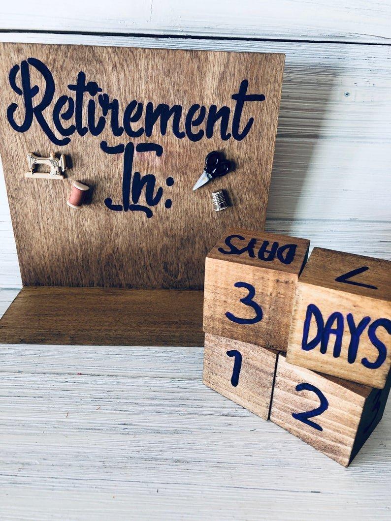 Retirement Countdown Calendar With Blocks Sewing Theme | Etsy Free Countdown Calendar For Retirement
