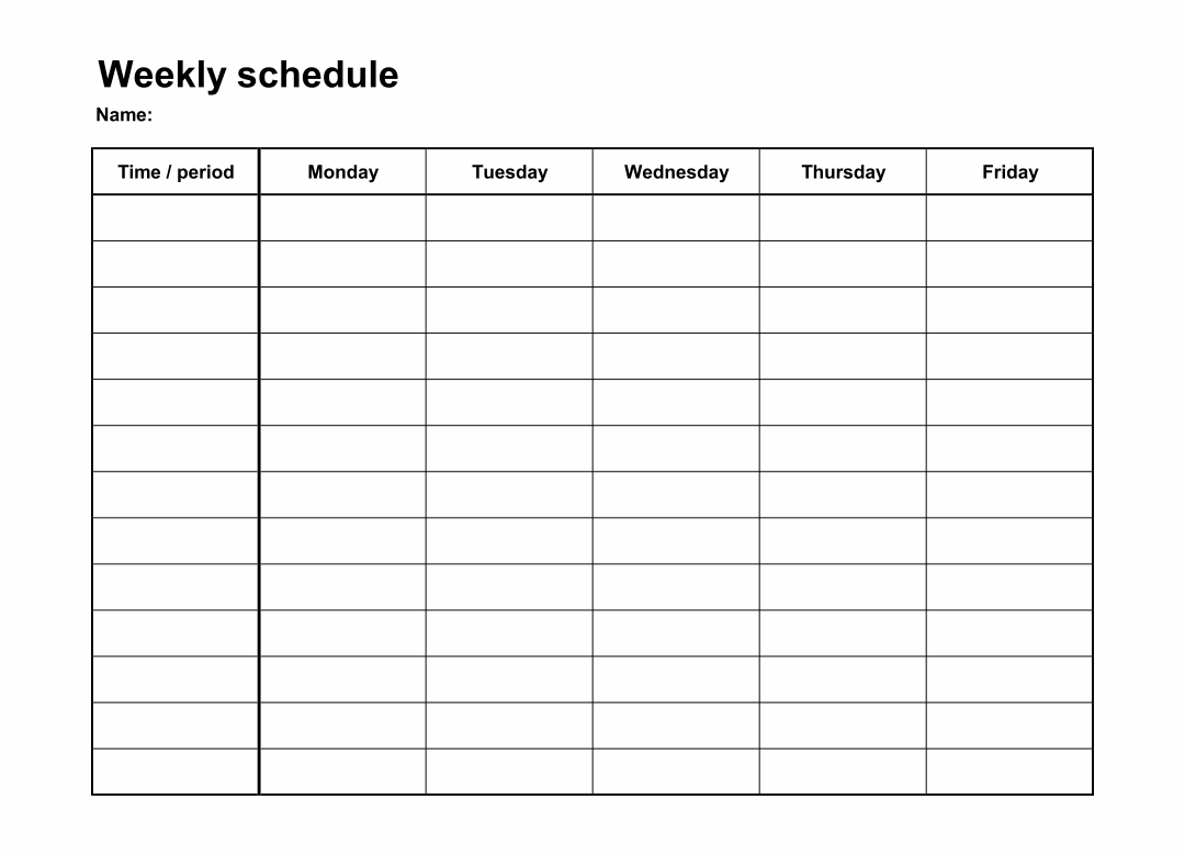 Schedule Template Monday Through Friday Five Disadvantages Monday Through Friday Calendar Printable