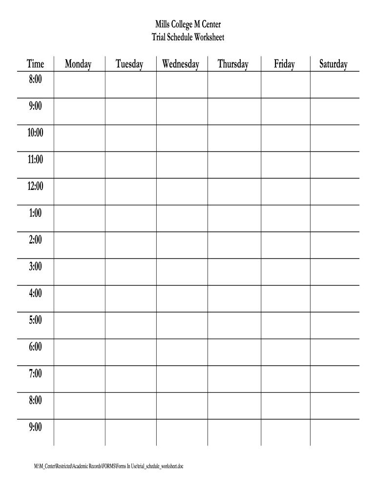 Schedule Worksheet - Fill Online, Printable, Fillable Printable Fill In Schedule