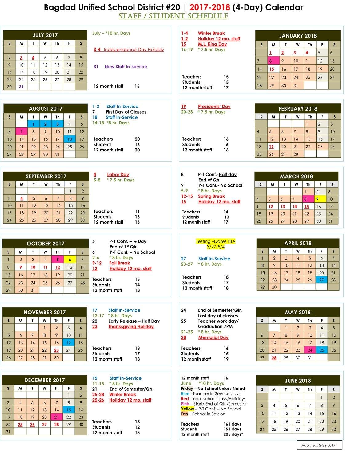 School Calendars 2017 2018 2018 2019 Bagdad Unified Hawaiian Calendar Fishing And Planting